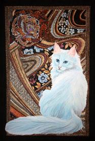 Fine cat art white Turkish Angora