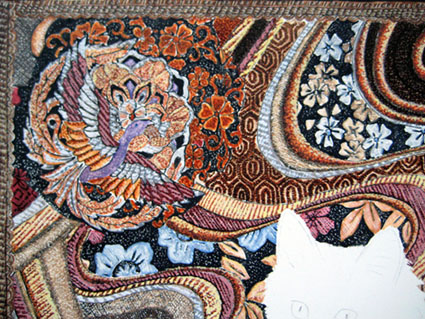 detail of ready background Turkish Angora cat painting