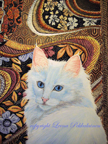 portrait painting of a Turkish Angora cat