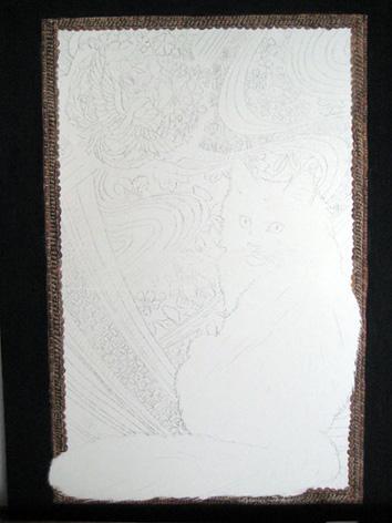 turkish angora cat painting beginning stages