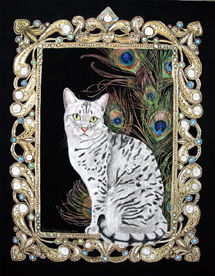 Fine cat art Egyptian Mau